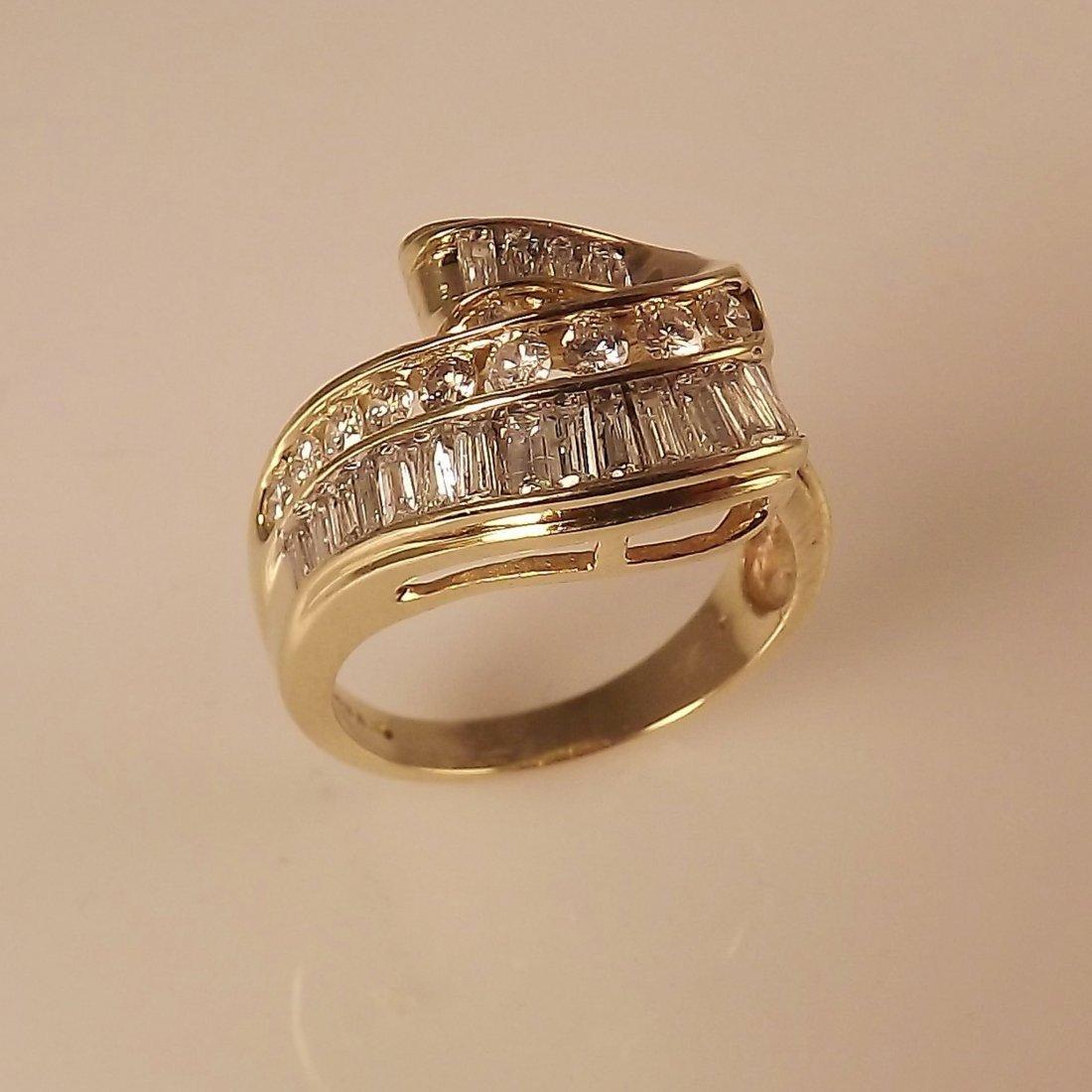 14K Y.G Swirl Design Ring with 2.0ctw Diamonds -