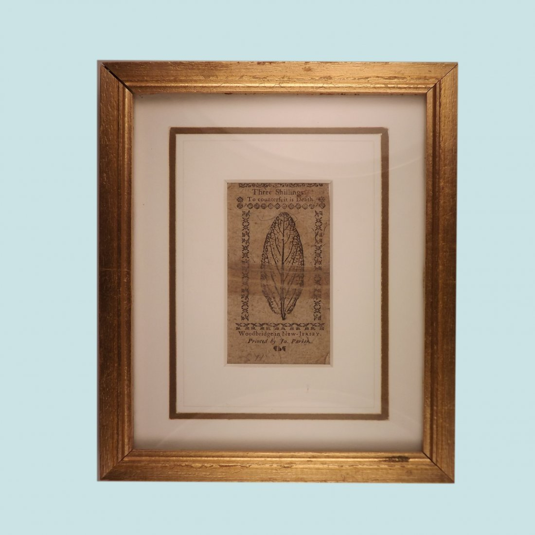 Framed 3 Shilling Paper Note Dated December 3rd, 1763
