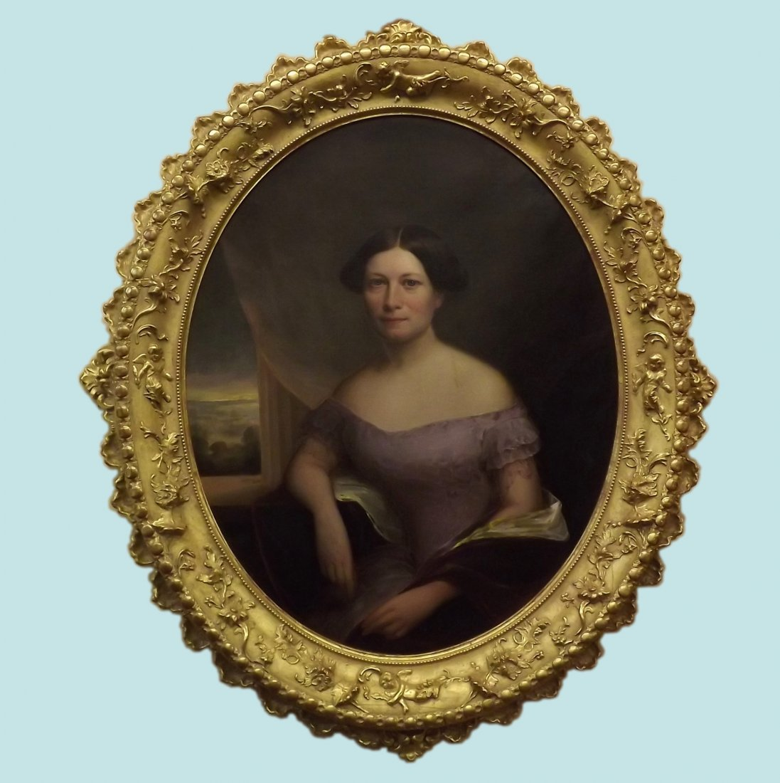 Oval Oil on Canvas of Southern Lady in Carved and Gilt