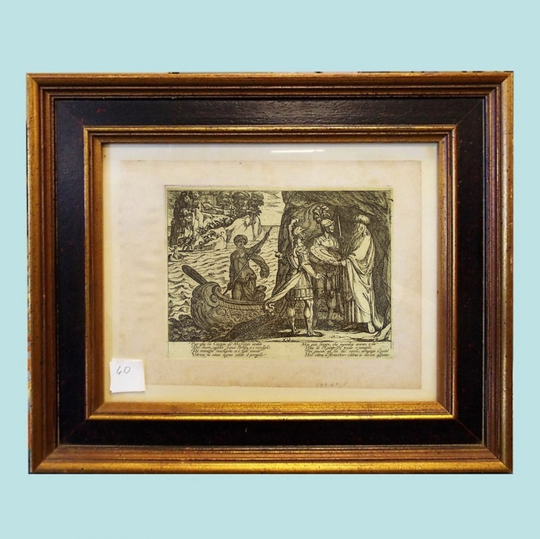 "Antonio Tempesta Etching ""Jerusalem Delivered""  9.5"" x"
