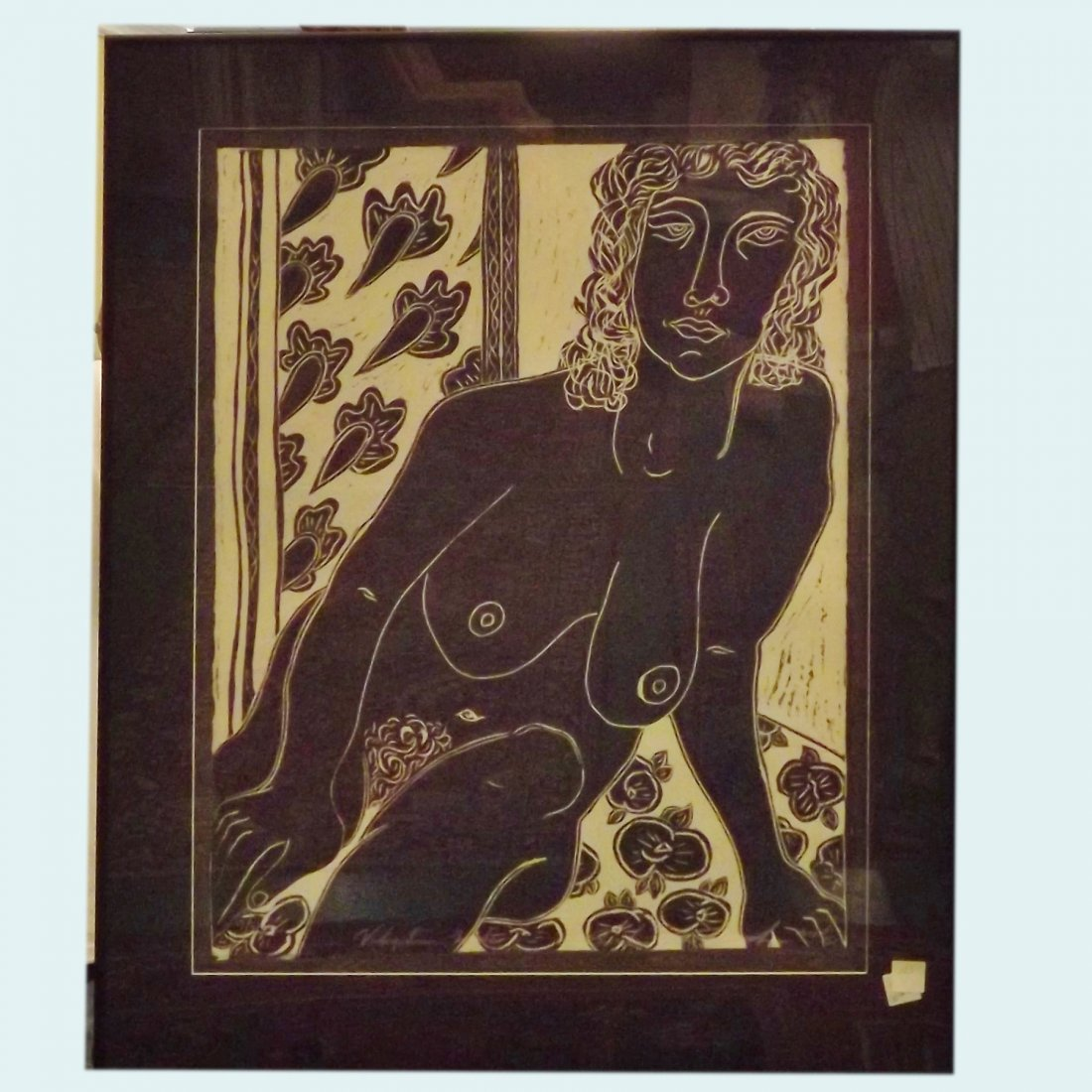 Contemporary Black and White Block Print of Nude Woman