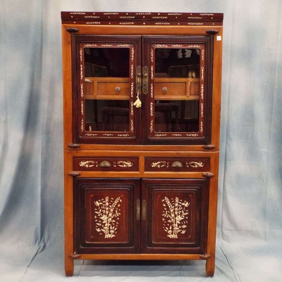 Oriental Cabinet with Carved Bone Inlay
