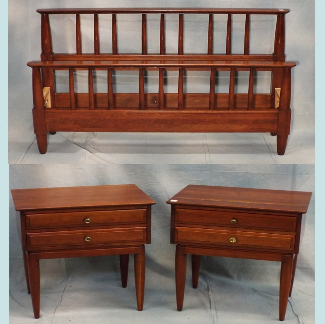 Pr. Willett Bed Side Tables & Queen Size Bed w/ Rails