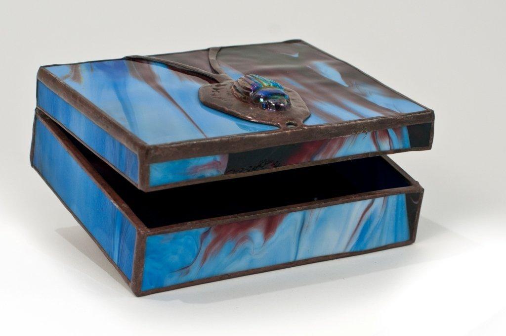 Orient & Flume glass box, art nouveau style with scarab