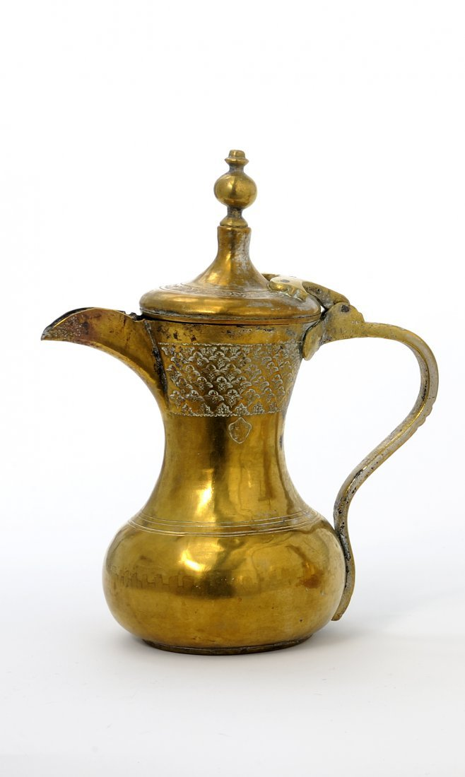 Antique brass Arabic coffee pot, engraved & stamped