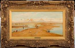 Antique Orientalist painting of Egypt, Fredick Goodall