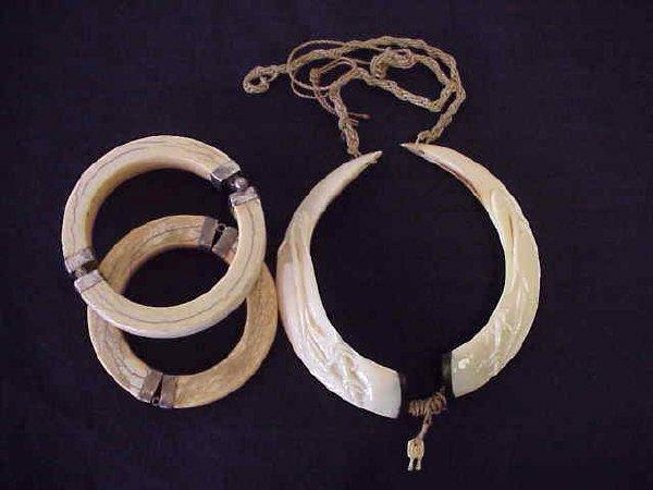 6: Bone bracelets, carved necklace.