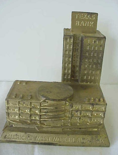 "9: ""Texas Bank"" metal bank."