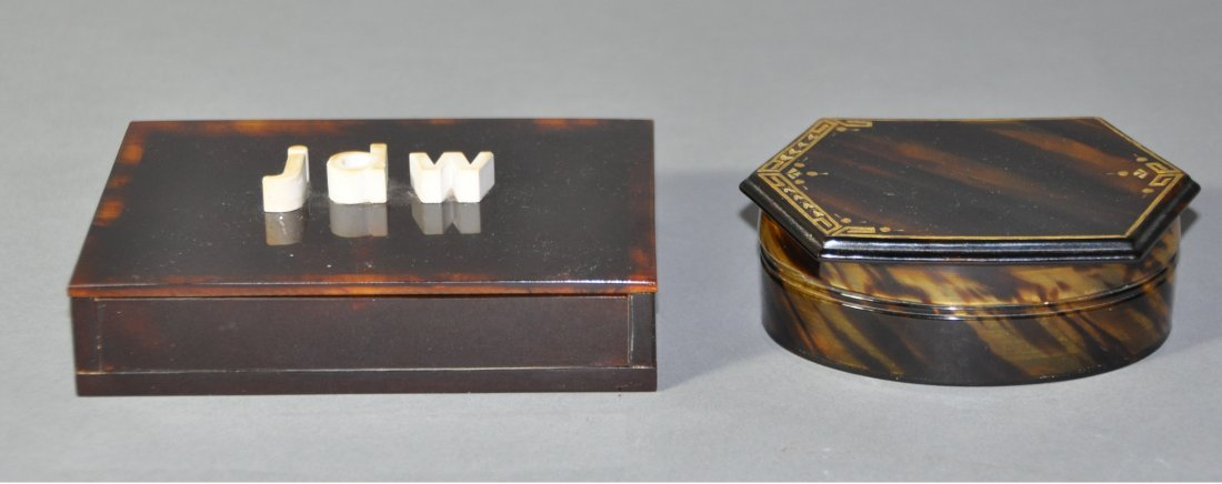 (Lot of 2) Antique tortoiseshell boxes