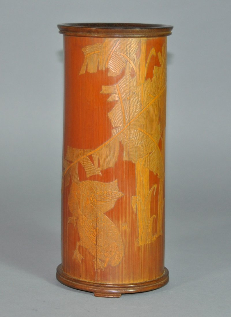 A fine Qing Dynasty carved bamboo brush pot