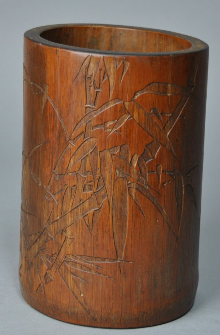 A Qing Dynasty carved bamboo brush pot - 3