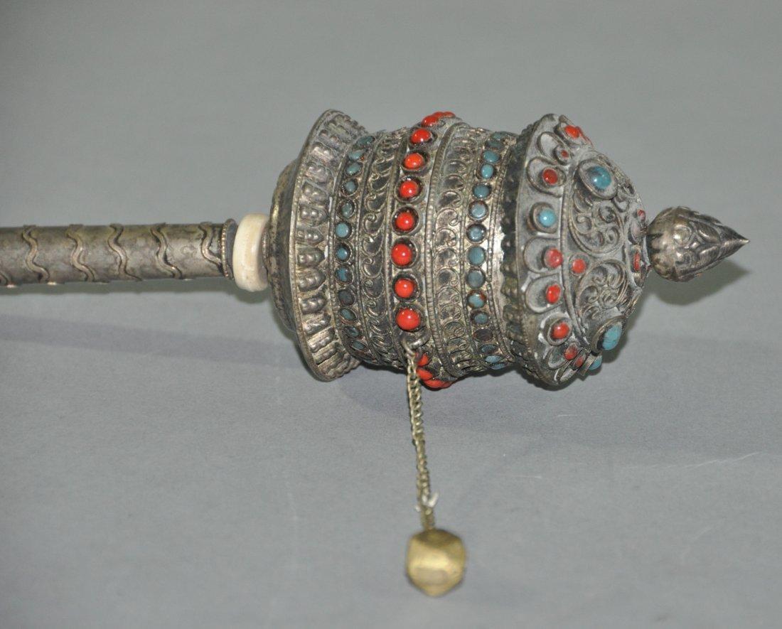 A Qing dynasty silver Tibetan Himilayan prayer wheel - 5