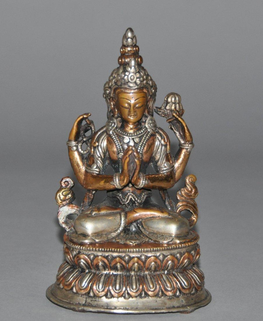 A 18th century silve repousse figure of  Tara