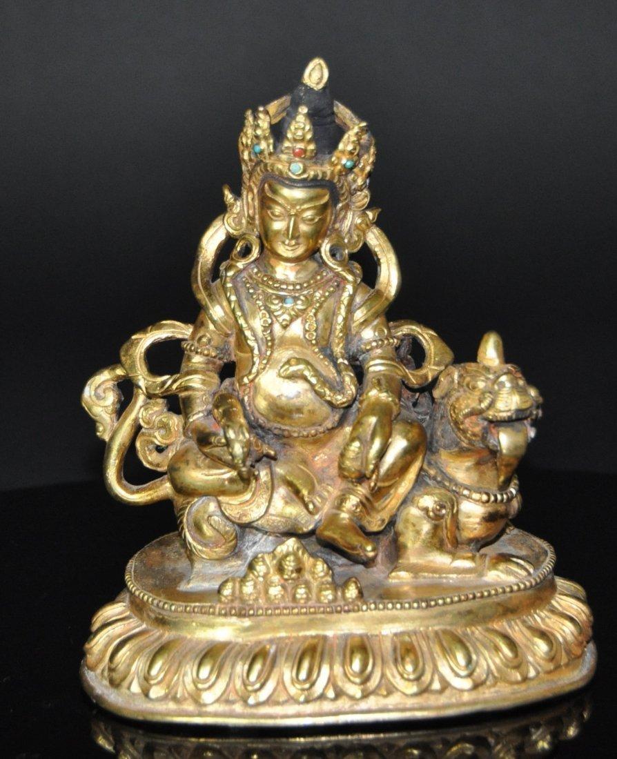 A 17th century Tibetan Himalayan gilt-bronze Shakyamuni