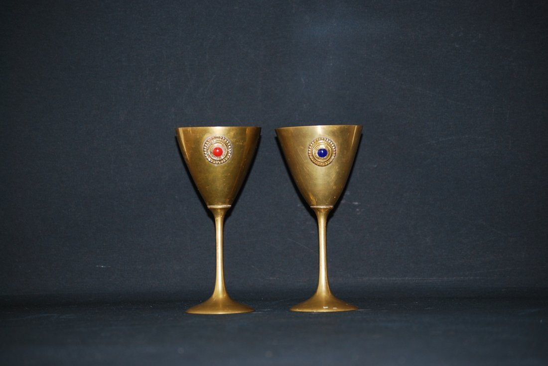 A pair of gilded bronze cups 19th century