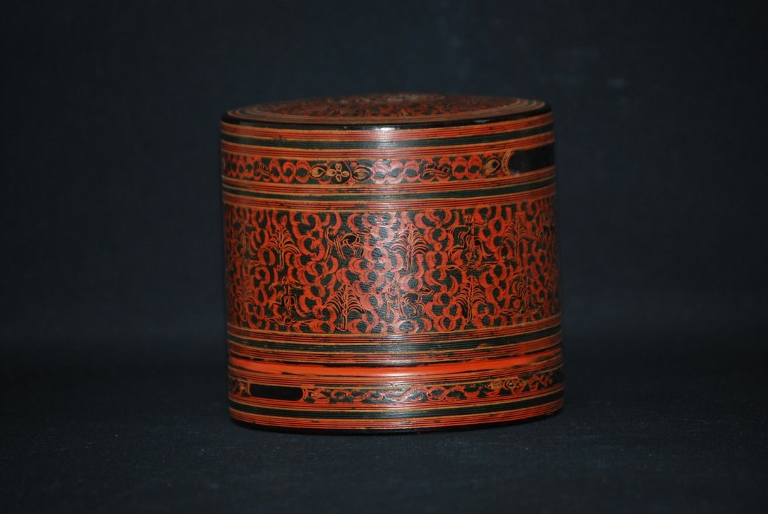 A red lacquer container