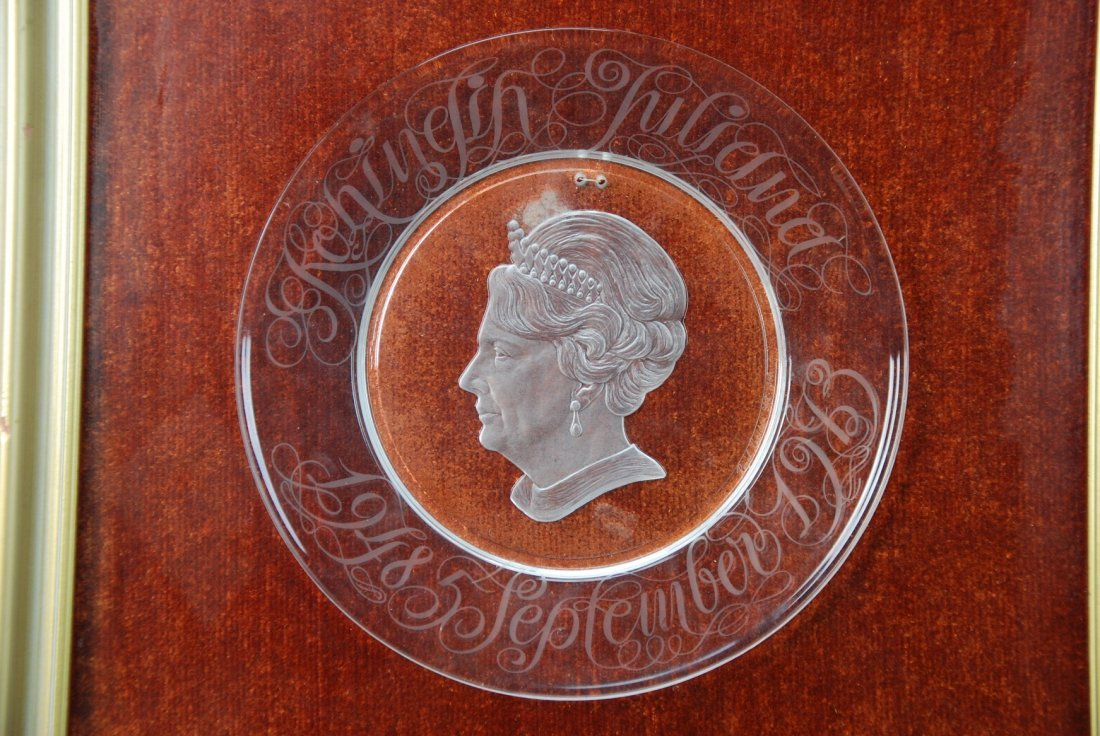 A rare engraved crystal plate depicting Her Majesty