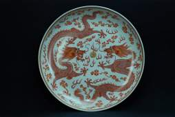 A rare Guangxu Iron-red double dragon plate
