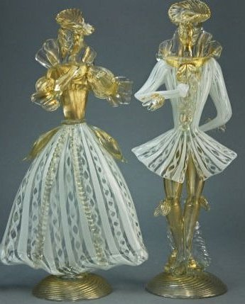 A pair of  19th century Murano figures