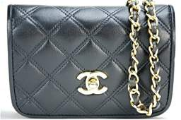 A black leather Chanel bag