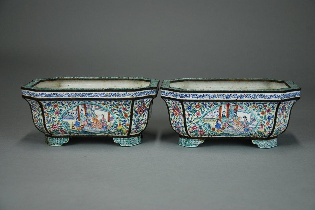A  pair of Qianlong period Canton enamel pot