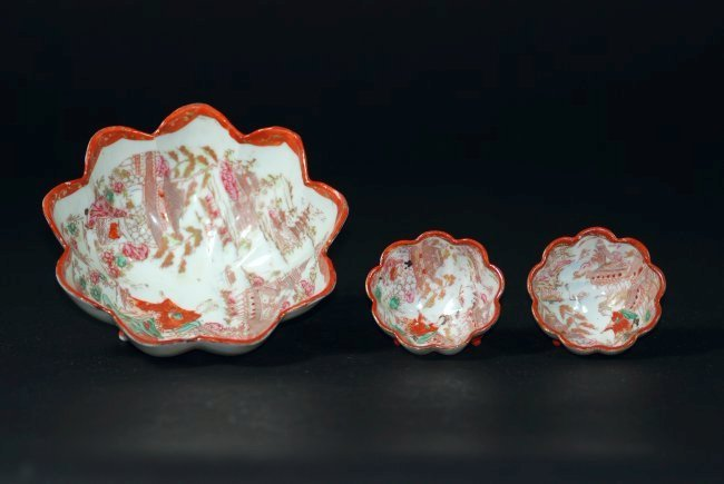 Three 19th century Japanese famille rose bowls