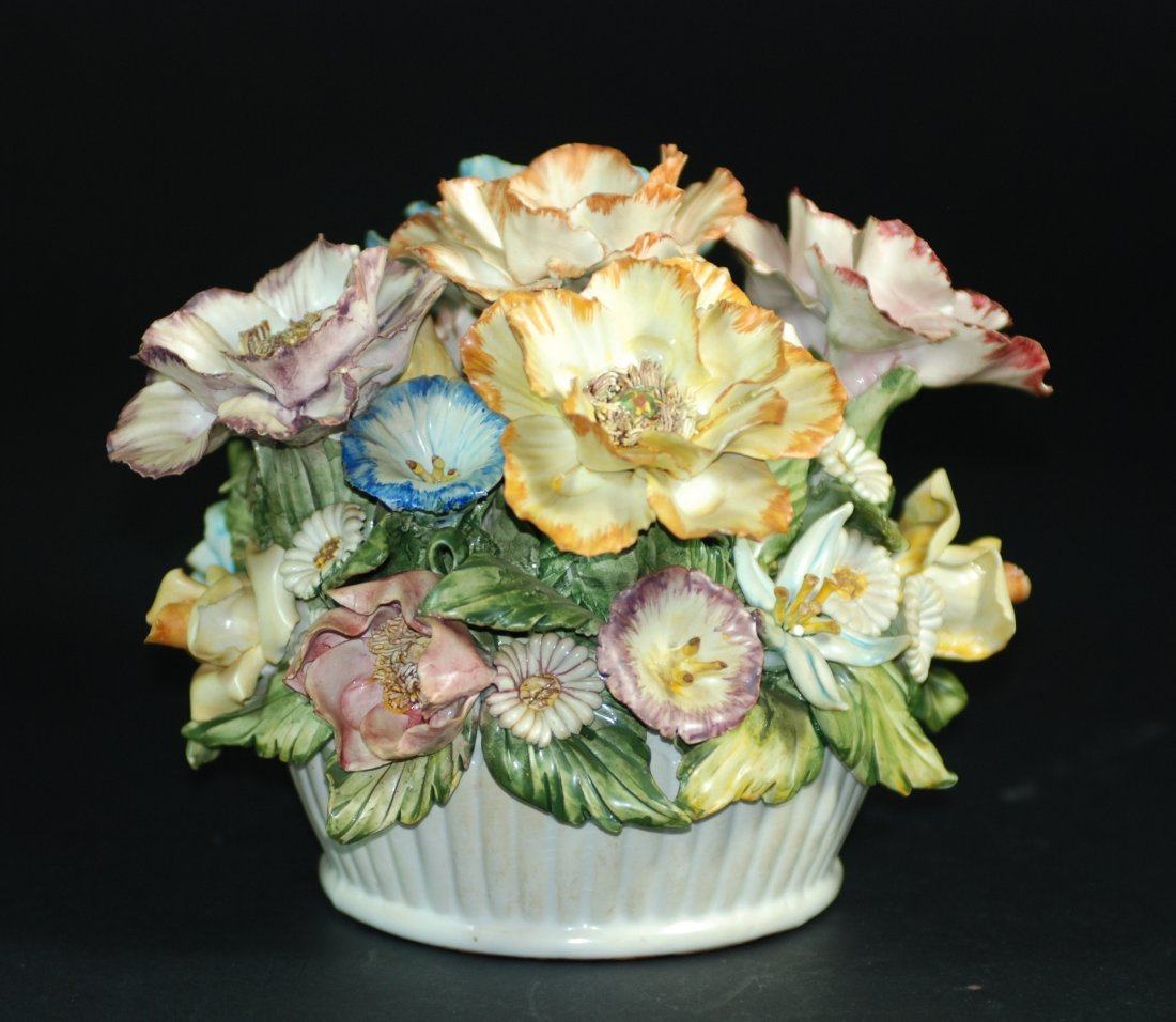 An English  decorated porcelain flower 19th century