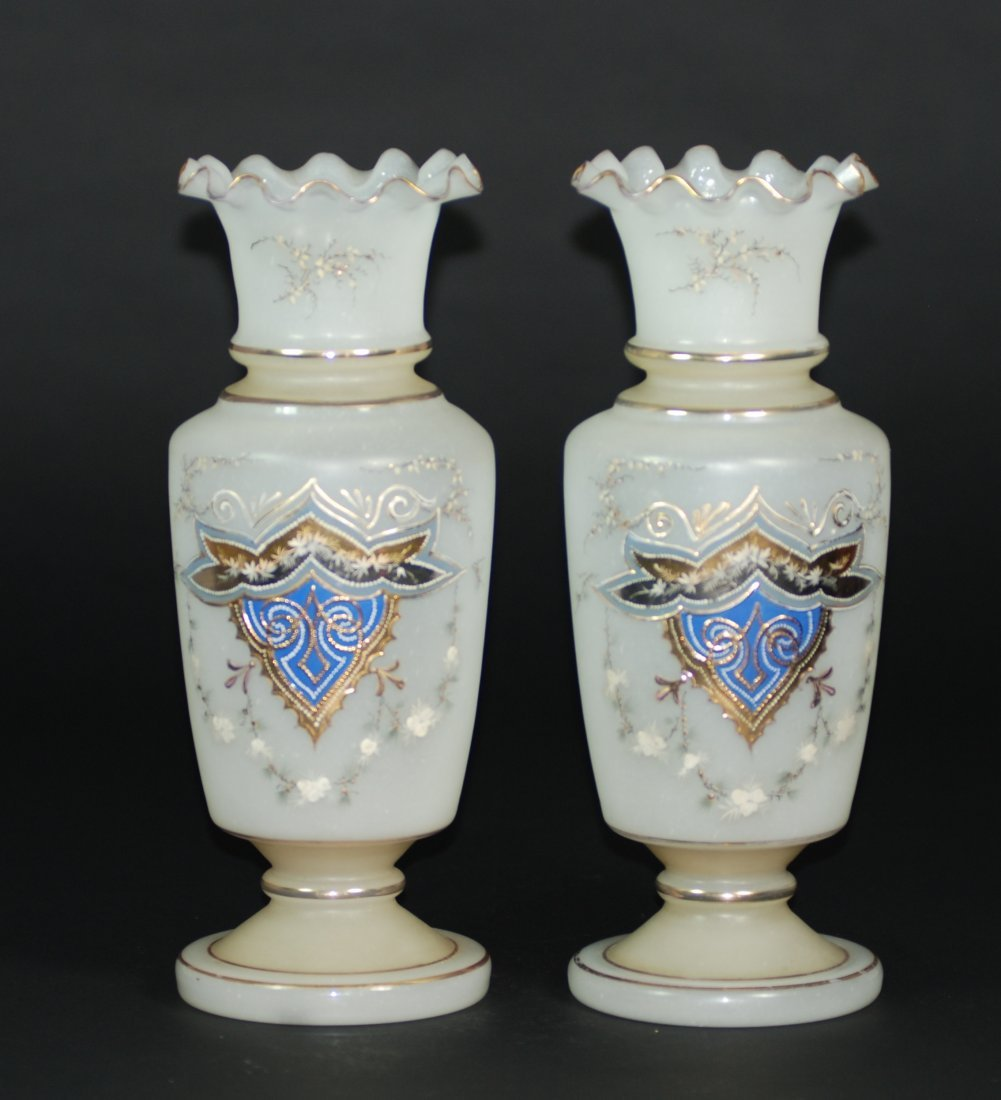 A pair of antique glass vases