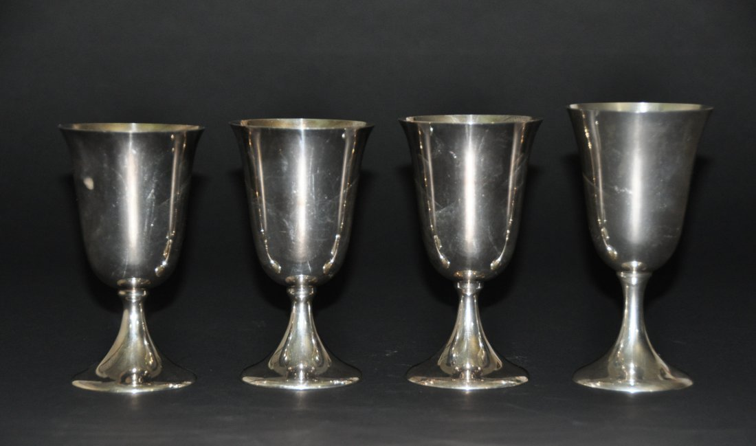(Lot of 4)  silver stem cup