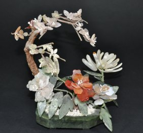 A 19th Century Jade Flower Donsai