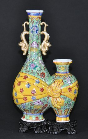 A Yongzheng Period Yellow Enameled Ground Double Vase