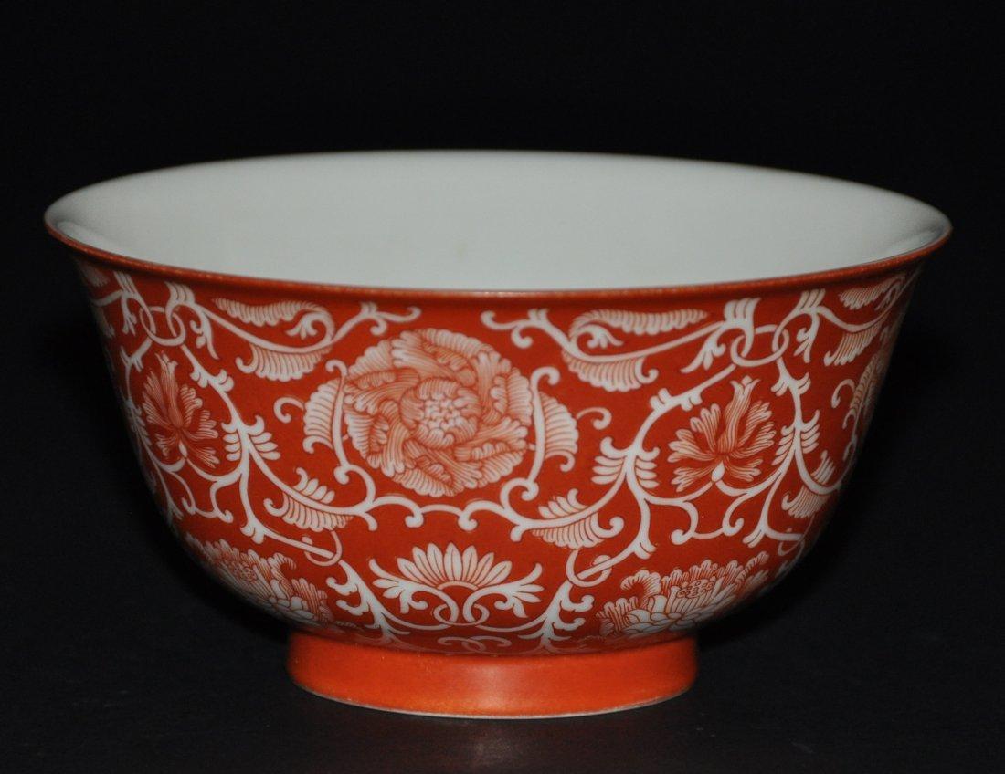 A rare Qing Dynasty QianLong coral-ground bowl