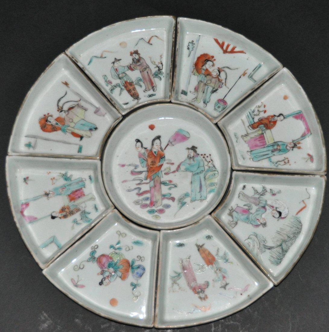 A Qing Dynasty composite porcelain fruit platter