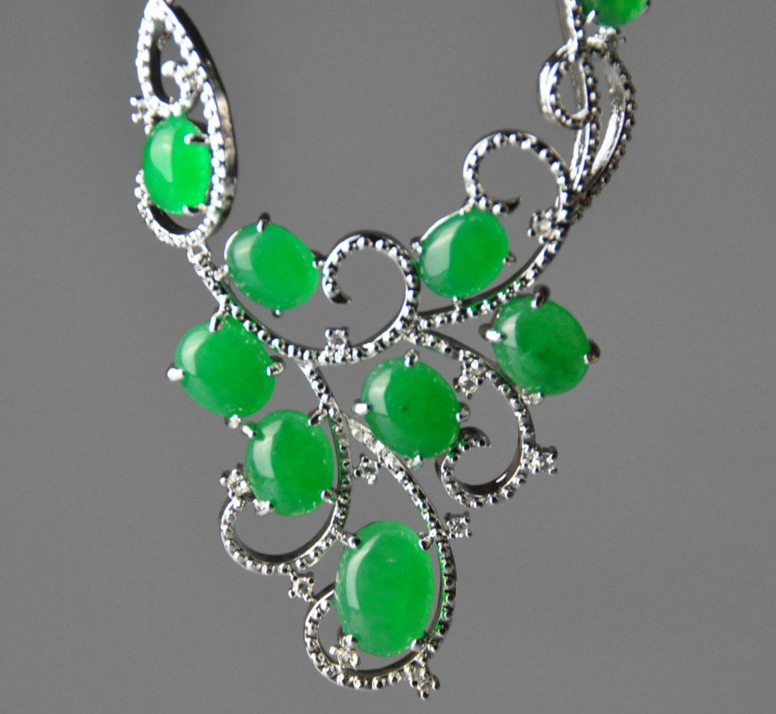 A translucent jadeite necklace