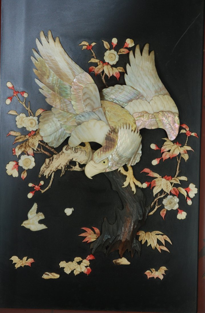 A 19th century mother of pearl lacquer panel
