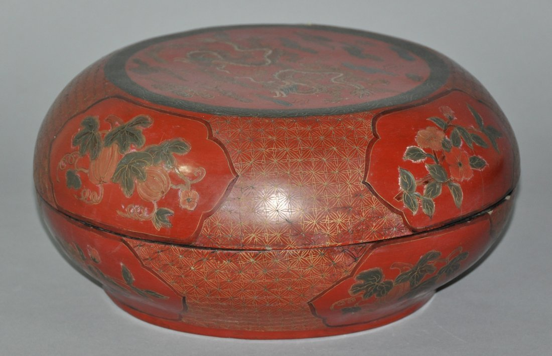 A fine Qing Dynasty  polychrome Lacquer box