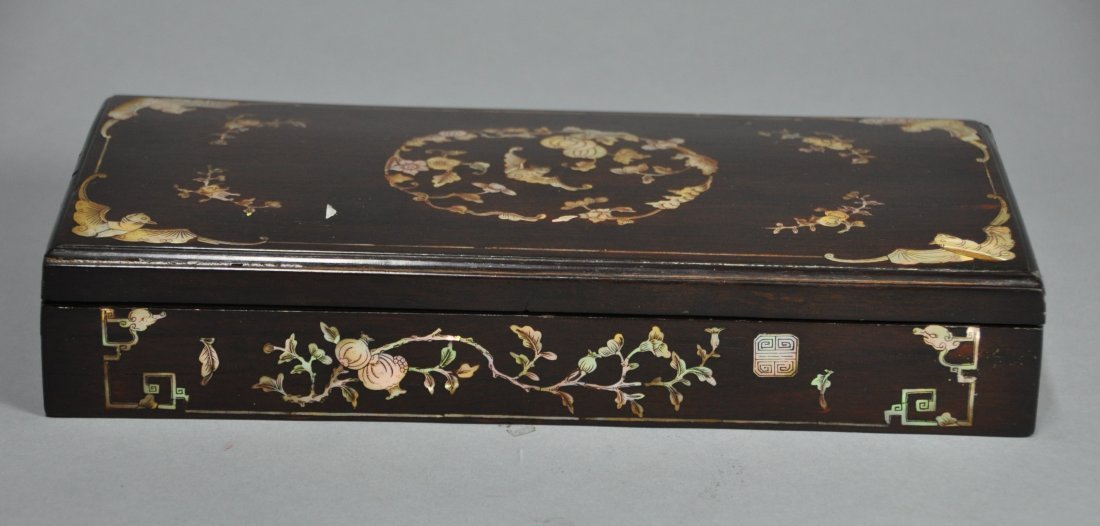 A Qing Dynasty Kangxi Mother-of-pearl inlaid ZITAN box