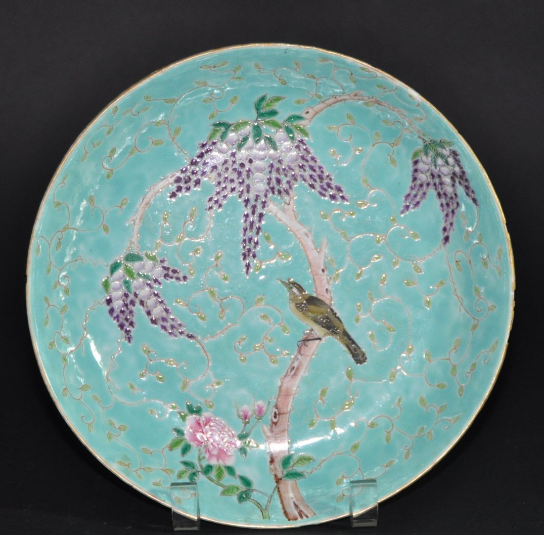 A Guangxu period enameled turquoise plates