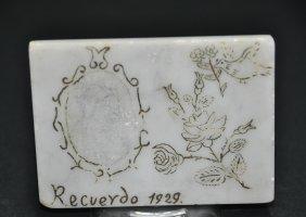A rectangular white jade plaque