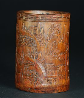 A fine Qing Dynasty bamboo brush pot