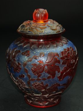 A rare 18th century overlay Beijing glass vase