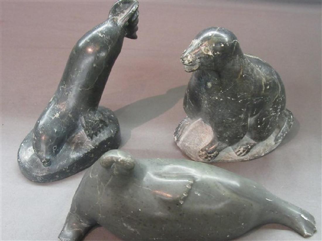 Three (3) 1970's Inuit Seal Carvings