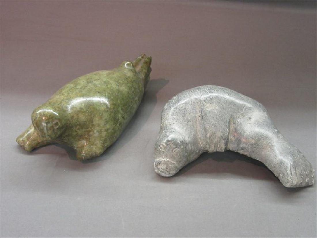 Two (2) Inuit Sea Lion Stone Carvings