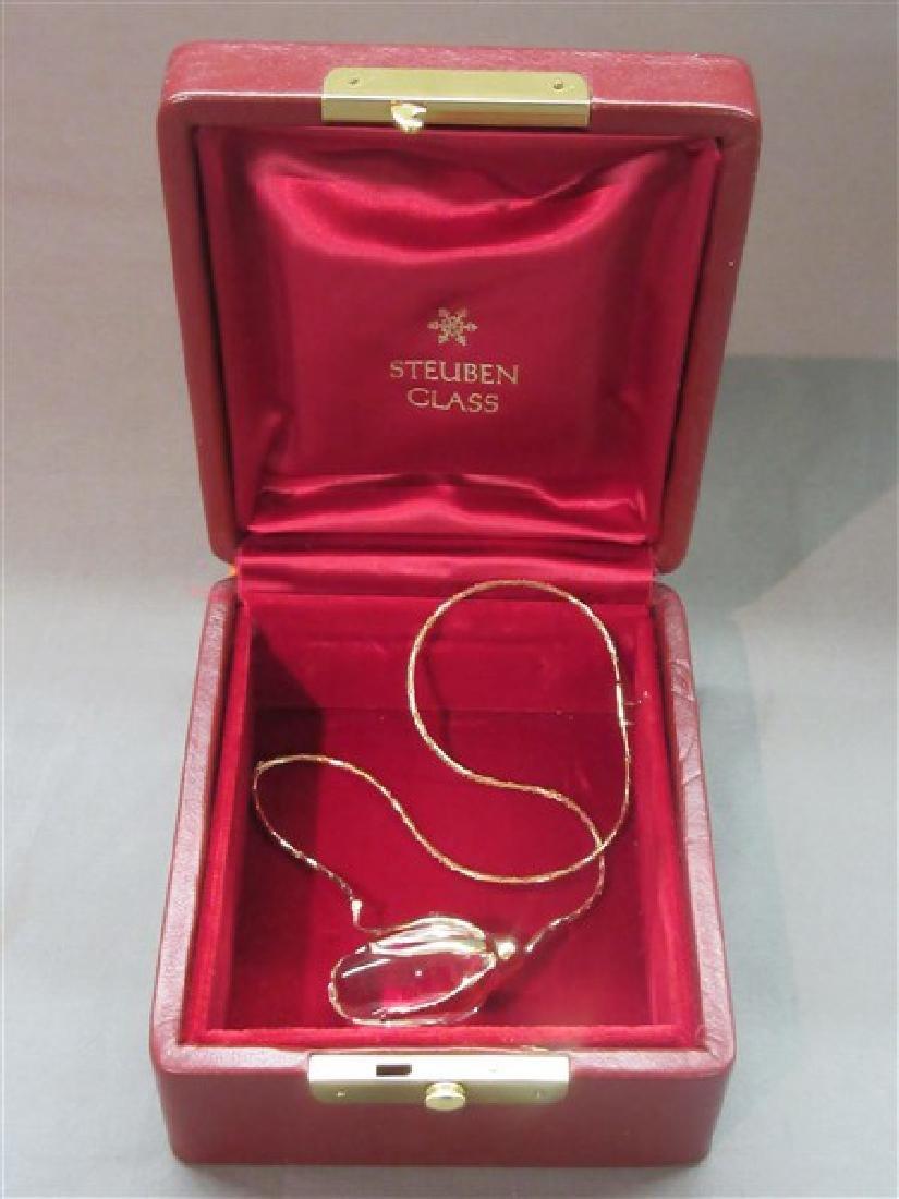 Steuben Glass 14K Gold Rose Necklace