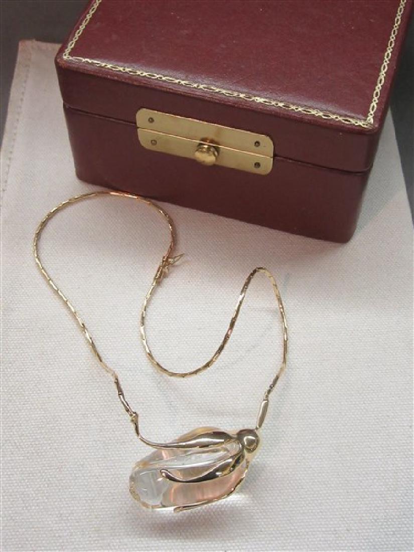 Steuben Glass 14K Gold Rose Necklace - 2