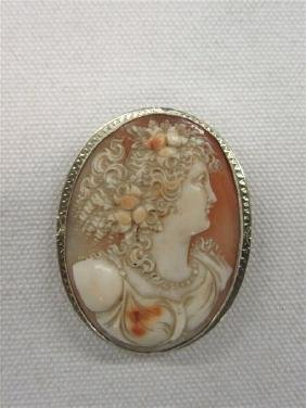 14k Carved Cameo Bust Brooch/Pendant