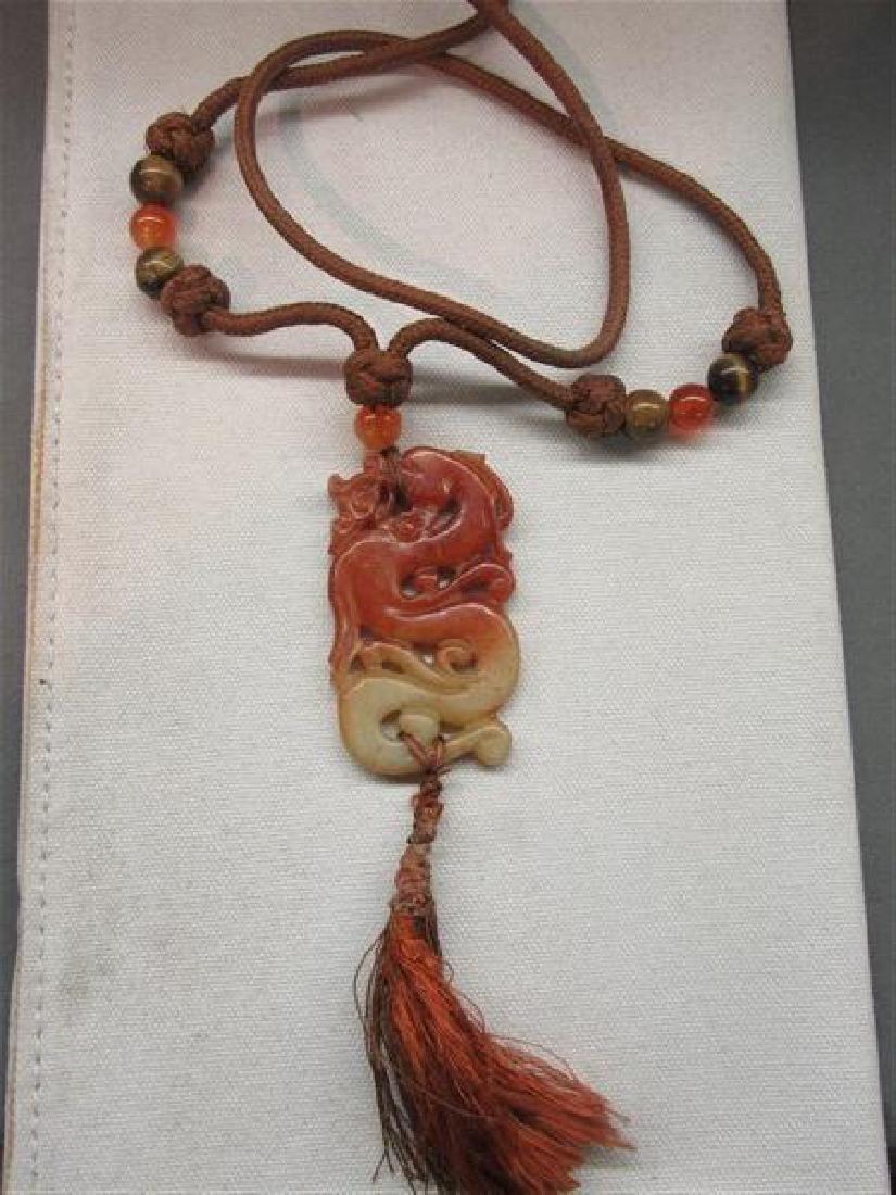 Carved Orange  Jade Necklace