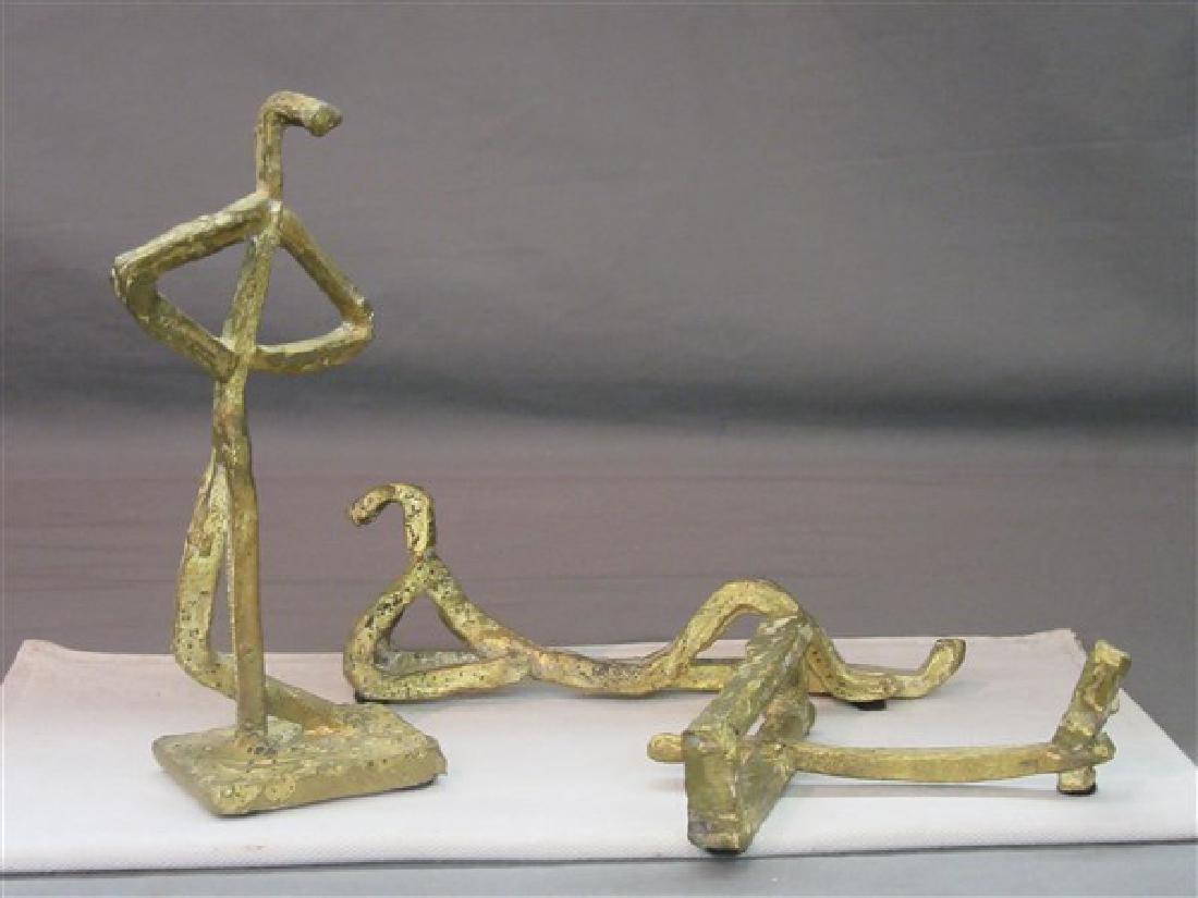 Three (3) Mid Century Brass Abstract Figures