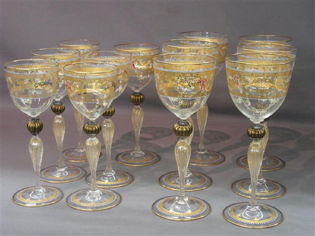 Twelve (12) Venetian Glass Goblets