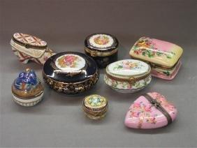 Eight (8) Limoges France Porcelain Boxes